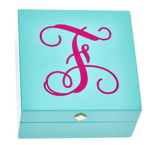 Monogrammed Bauble Box- Aqua