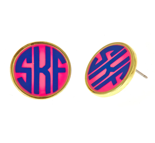 Monogrammed Small Earrings-Gold