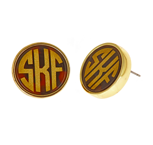 Monogrammed Tortoise Earrings
