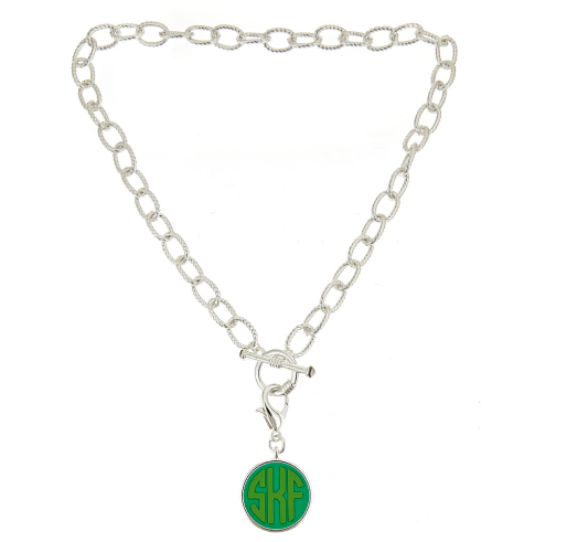 Monogrammed Toggle Necklace with Disc-Silver