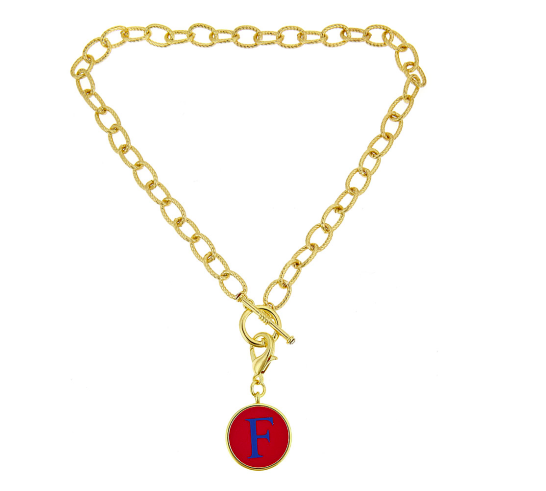 Monogrammed Toggle Necklace with Disc-Gold