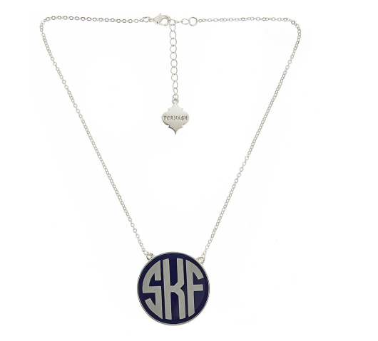 Monogrammed Enamel Soft Chain Necklace-Silver