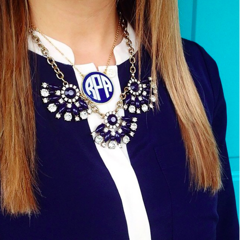 Monogrammed Enamel Soft Chain Necklace-Gold