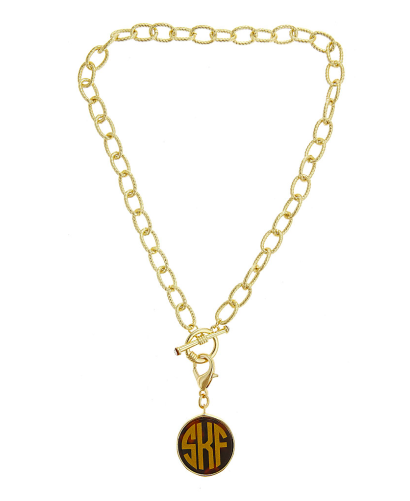 Monogrammed Toggle Necklace with Tortoise Disc