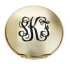 Monogrammed Compact Mirror-Brushed Gold