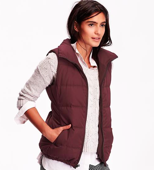 Monogram Quilted Puffer Vest- Dark Wine