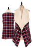 Monogrammed Plaid Vest with Fur Lining