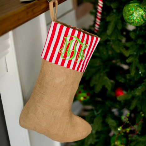 Monogrammed Christmas Stocking-Burlap Stripe