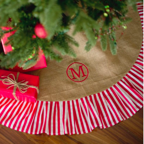 Monogrammed Christmas Tree Skirt-Stripe