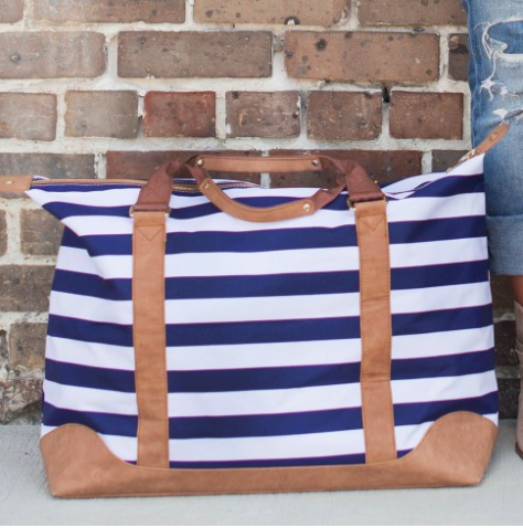 Monogrammed Weekender Bag-Navy Stripe