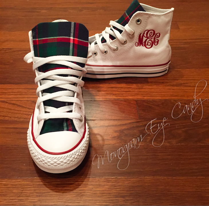 Customized Converse Sneakers- White/Plaid Print