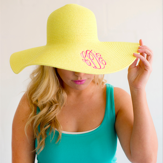 Monogram Floppy Hat- Yellow