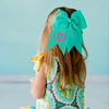 Monogram Hair Bow-Blue Seersucker
