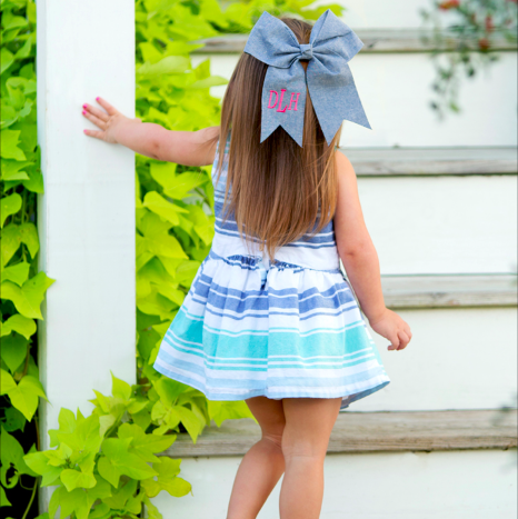Monogram Hair Bow-Chambray