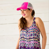 Monogrammed Trucker Hat-Hot Pink