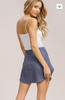 Linen Wrap Mini Skirt- Blue