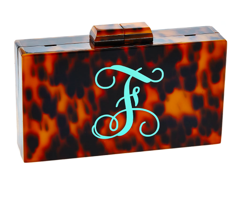 Monogrammed Tortoise Clutch- Single Font