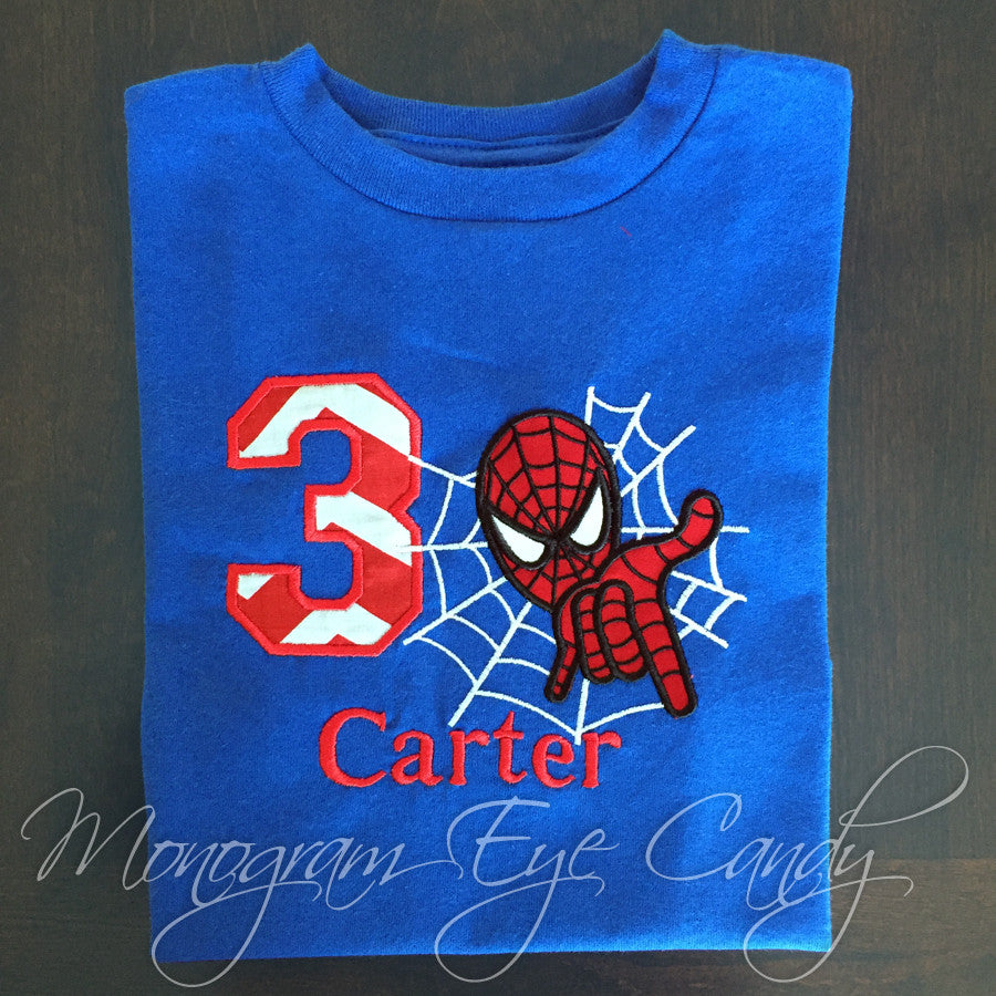 Spiderman Birthday Shirt Monogram Eye Candy