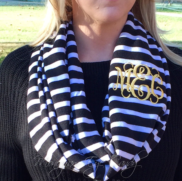 Black Stripe Knit Infinity Scarf