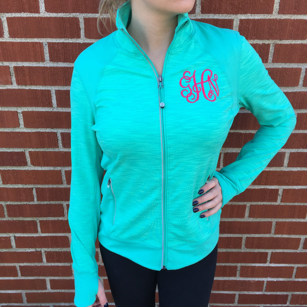 Monogrammed Active Jacket-Teal