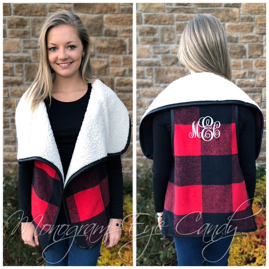 Monogrammed Buffalo Check Vest Plaid for Days