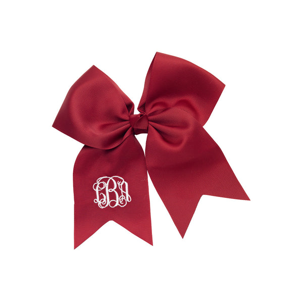 Monogram Hair Bow-Garnet