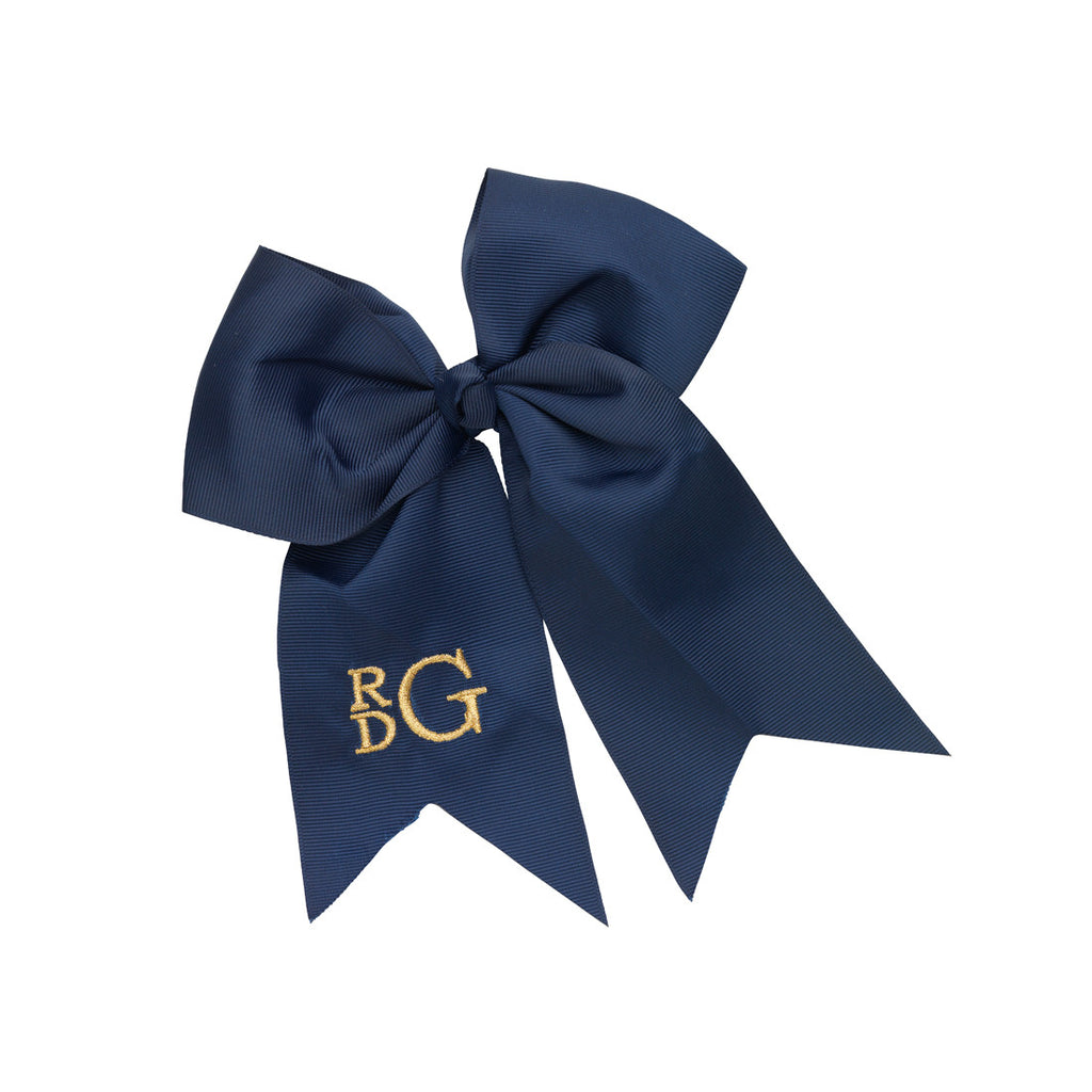 Monogram Hair Bow-Navy