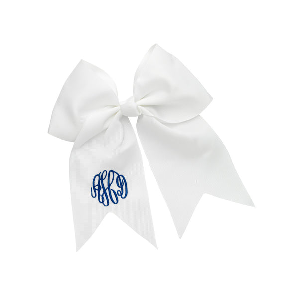 Monogram Hair Bow-White