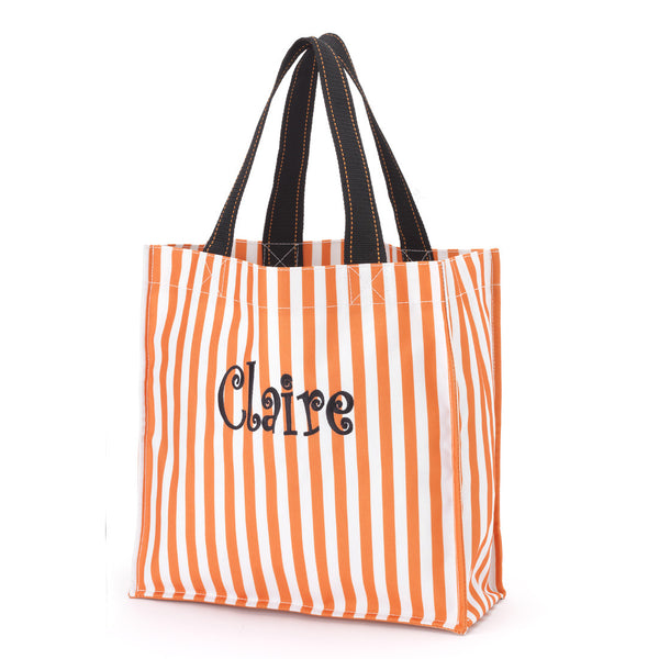 Monogrammed Halloween Tote-Orange Stripe