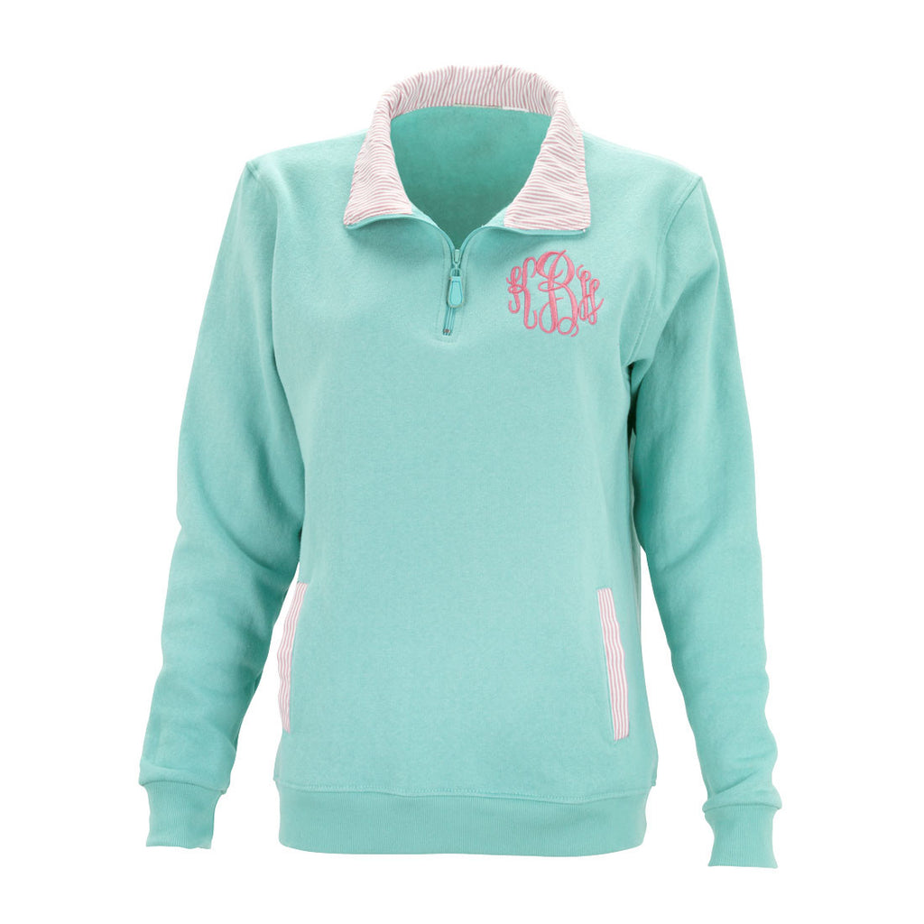 Monogrammed Stripe Pullover-Mint/Light Pink