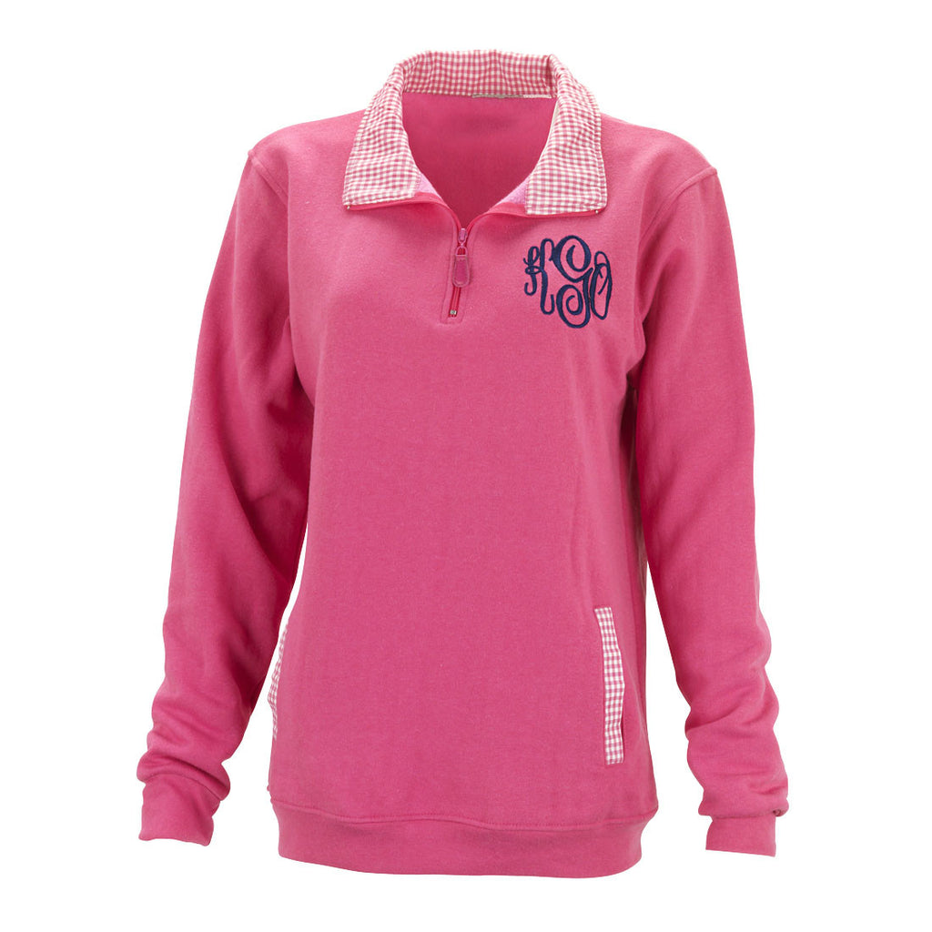 Monogrammed Gingham Pullover-Pink/White