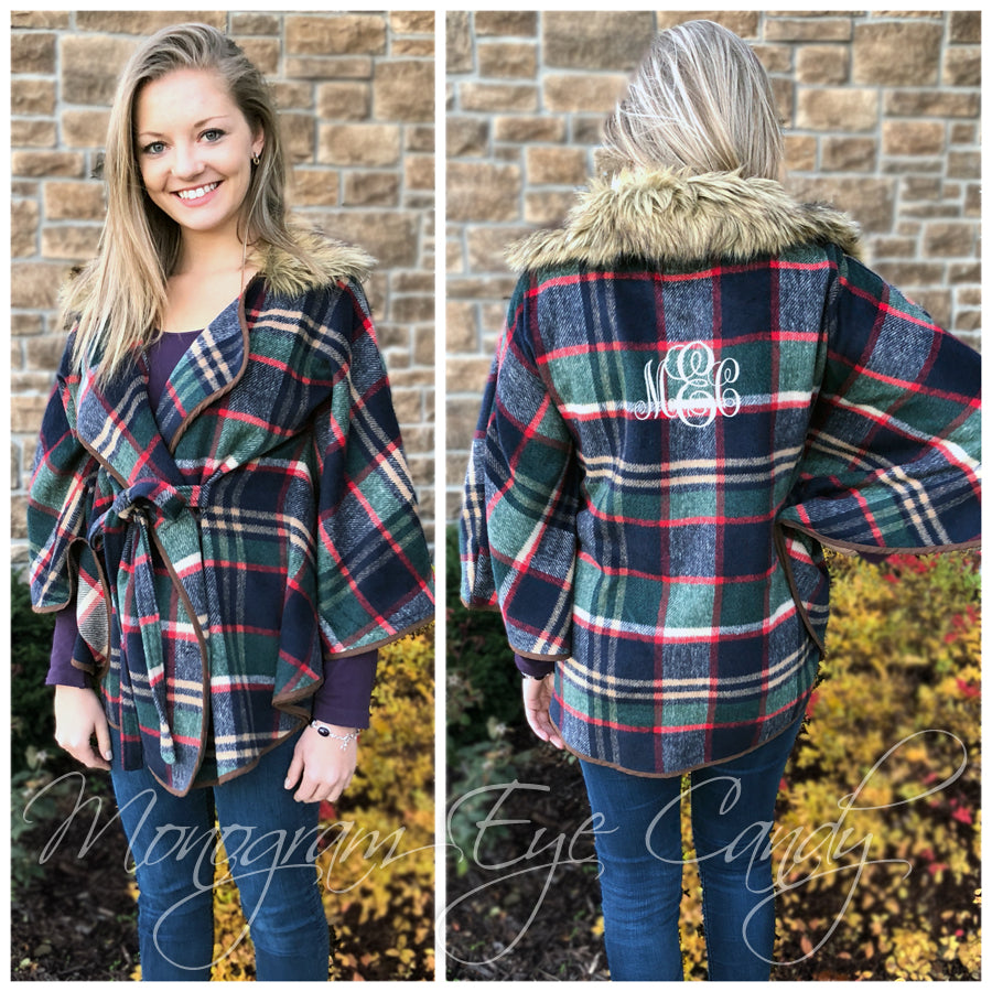 Monogrammed Fur Plaid Poncho- Navy
