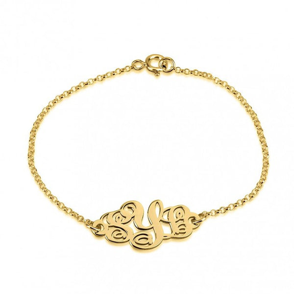 Gold Monogram Bracelet-Fancy Script