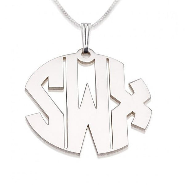 Silver Monogram Necklace-Circle