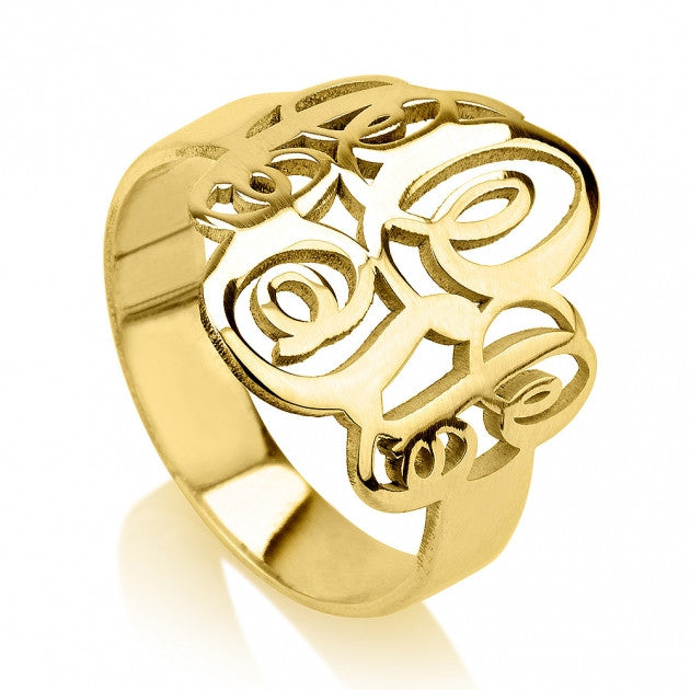 Gold Monogram Ring-Interlocking