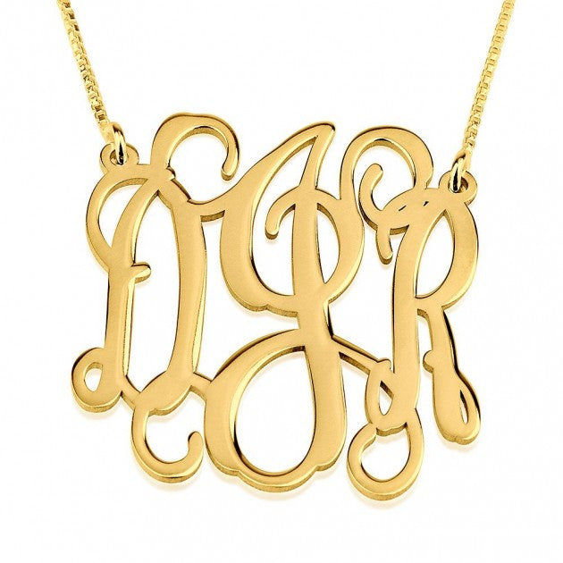 14K Gold Monogram Necklace-Interlocking Vine
