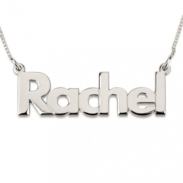 Silver Name Necklace-Block