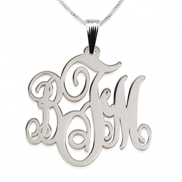 Silver Monogram Necklace-Fancy Script