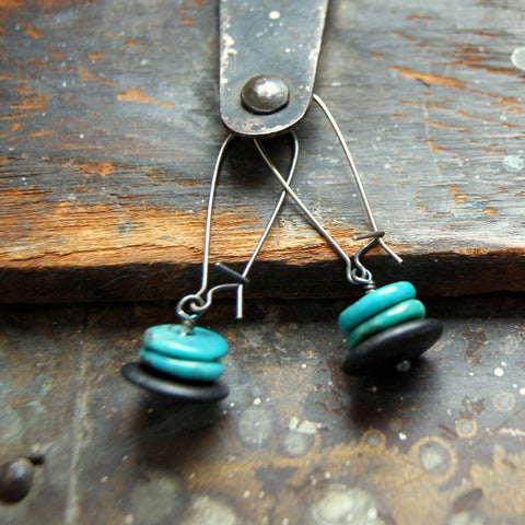 Campitos Mine Turquoise and Black River Rock Cairn Earrings