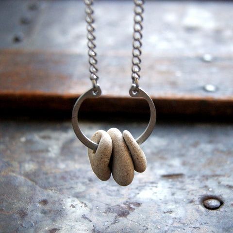 Hag Stone Necklace with Retaining Ring and Vintage Stainless Steel Chain