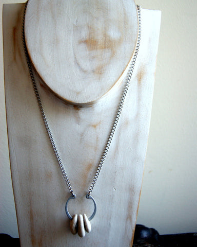 Hag Stone Necklace with Retaining Ring and Vintage Stainless Steel Chain by Wear Your Wild