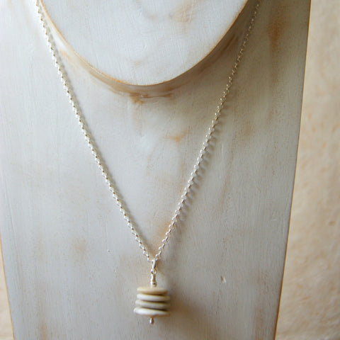 Beach Stone Cairn Necklace with Sterling Silver Rolo Chain