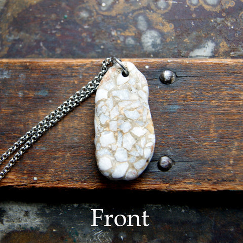 Genuine Terrazzo Stone Necklace with Stainless Steel Rolo Chain