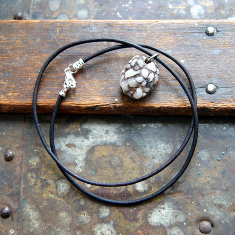 Genuine Terrazzo Necklace with Dark Brown Leather Cord