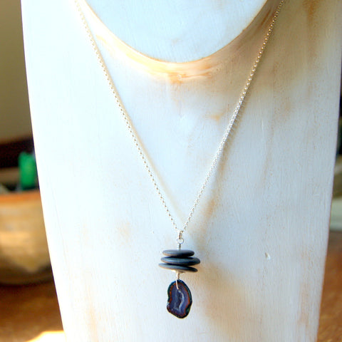 Black River Stone and Geode Cairn Necklace