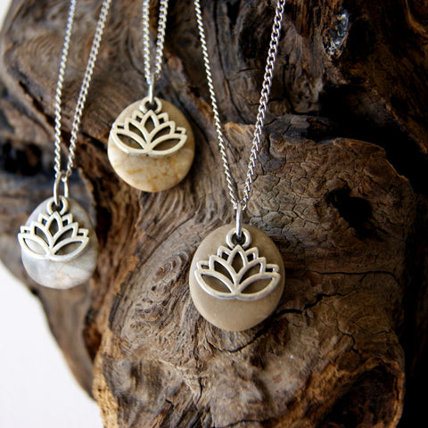 Beach Stone Necklace with Stainless Steel Lotus Flower