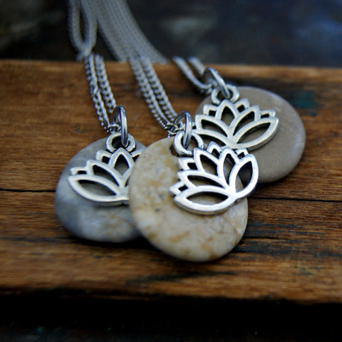 Beach stone necklace with stainless steel Lotus flower charm.