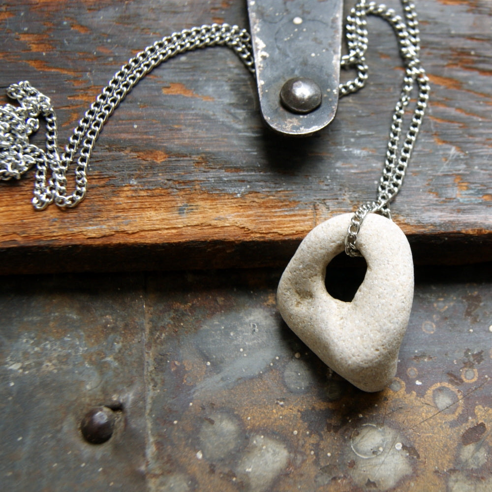 Hag Stone Necklace with Vintage Stainless Steel Chain by Wear Your Wild