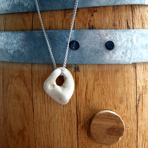 Hag Stone Necklace with Vintage Stainless Steel Chain