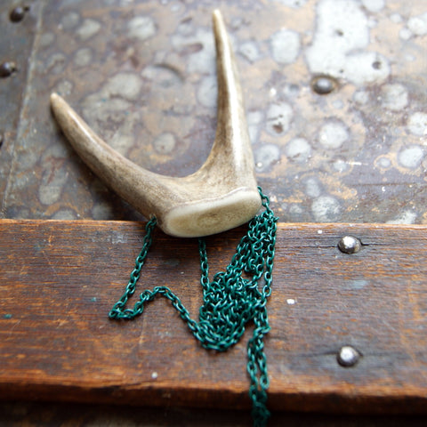 Forked Deer Antler Tip Necklace with Vintage Green Enameled Chain